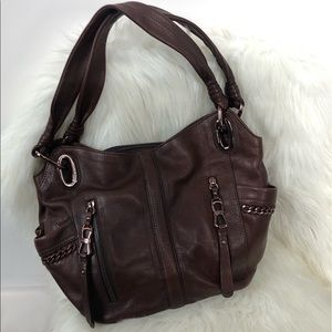 B. Makowsky Brown Genuine Purse Leather Tote